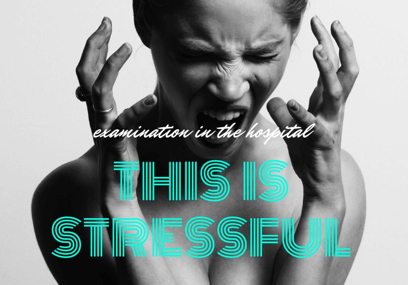 管理入院中の検査でストレスフルになっている女性の写真です。
