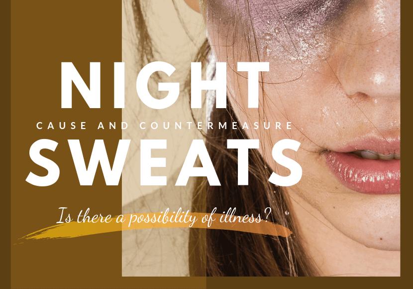 寝汗で汗だくな女性の写真です。