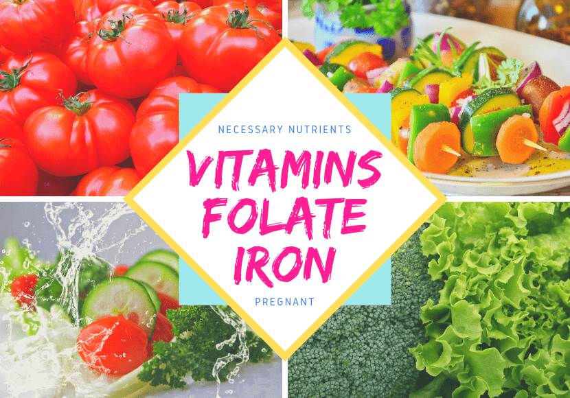 妊娠中に必要なビタミン・葉酸・鉄分が含まれる野菜の写真です。